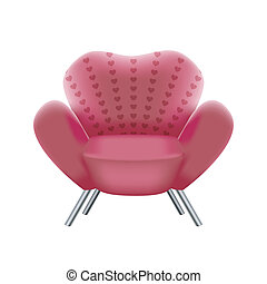 pink armchair on white background