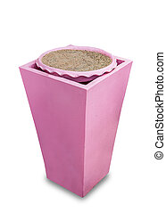 Pink ash tray of cigarette end isolated on white background