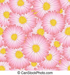 Pink Aster, Daisy Flower Seamless Background