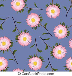 Pink Aster, Daisy on Purple Background