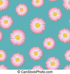 Pink Aster, Daisy Seamless on Blue Background