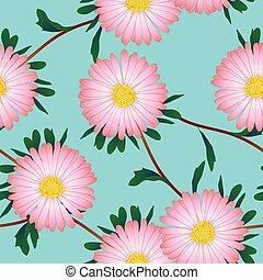 Pink Aster Flower on Blue Background. Vector Illustration