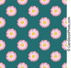 Pink Aster Flower Seamless on Green Teal Background