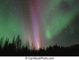 A bright pink and green aurora