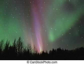 Pink Aurora - A bright pink and green aurora