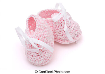 Pink Baby Booties - Pink Baby booties isolated on a white...