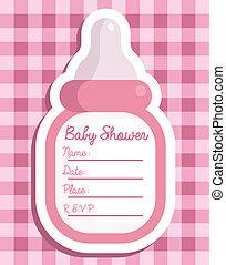 Pink Baby Bottle Invitation