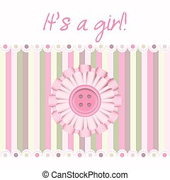 "Pink baby card - ""It's a girl!"" pink button baby card"
