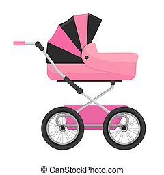 Pink baby carriage isolated on white background. Vector