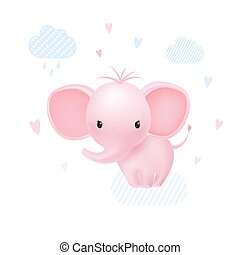 Pink baby girl elephant happy with hearts and clouds.