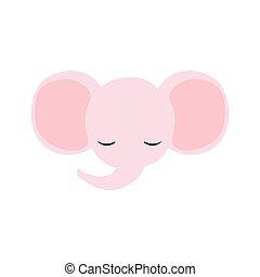 Pink baby girl elephant logo.