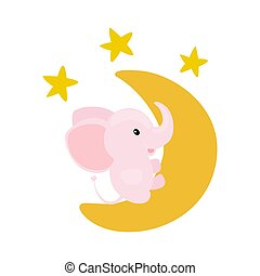 Pink baby girl elephant sitting on a moon with shiny stars.