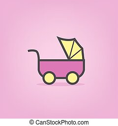 pink baby icons of stroller