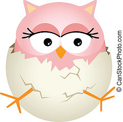 Pink Baby Owl in Egg - Scalable vectorial image representing...
