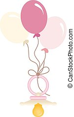 Pink baby pacifier with balloons - Scalable vectorial image...