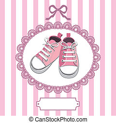 Pink baby shoes and lace frame - Pink shoes or pair kids...