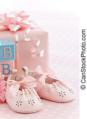 Pink baby shoes - Baby shower for a baby girl