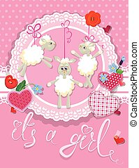 Pink baby shower card with sheep and hearts - design for girls.