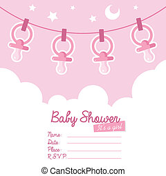 Cute pink baby shower invitation card for girls with pacifiers.