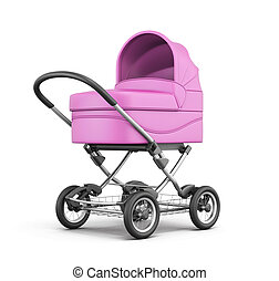 Pink baby stroller isolated on white background. 3d rendering