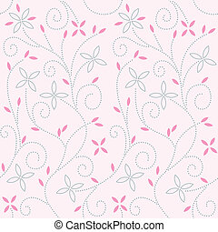 Pink baby background from little flowers and leafs and curls