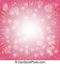 Pink Background. Sun Burst on Pink Background. Ray...