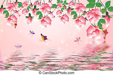Pink background, fabulous flowers hang down from above, reflected in the water, butterflies fly