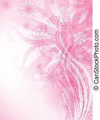 pink abstract background with floral elements