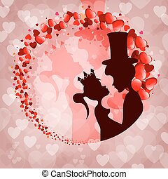 Pink background, silhouette Prince and Princess