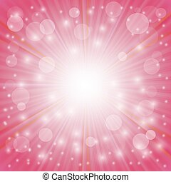 Pink Background. Sun Burst on Pink Background. Ray...