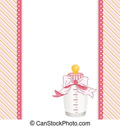 Pink background with baby bottle milk and ribbon