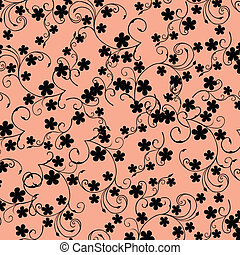 Pink background with black flowers