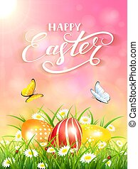 Pink background with butterflies and three Easter eggs in grass