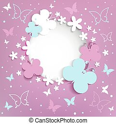 Pink background with butterflies on the frame