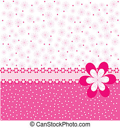 Pink background with flowers and dots