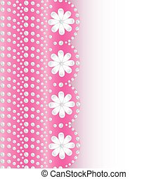 pink background with flowers of pearls and place for text