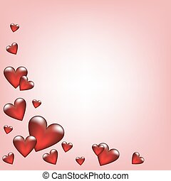 pink background with glass hearts
