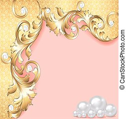 pink background with gold ornaments and pearls