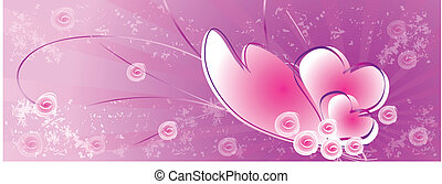 Pink background with hearts - Heart and rose on purple...