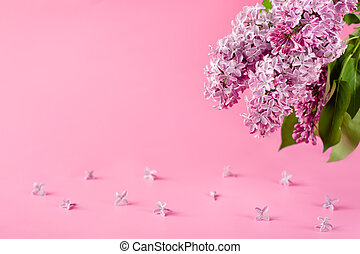 pink background with lilac flowers. greeting card, invitation card.