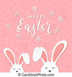Pink background with pattern and text Happy Easter with rabbit ears