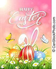 Pink background with rabbit and three Easter eggs in grass