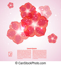 Pink background with red flowers and reflections. Vector illustr