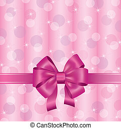 Pink background with ribbon and bow
