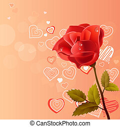 Pink background with rose and contour hearts