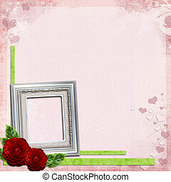 Pink background with silver frame for photo and red roses