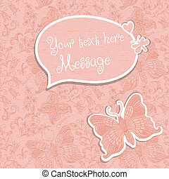 pink background with space for text and butterfly