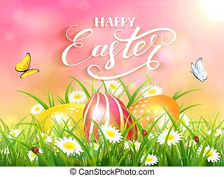 Pink background with three Easter eggs in grass