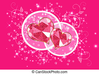 Pink background with two hearts