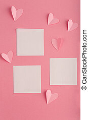 pink background with white blank form and hearts